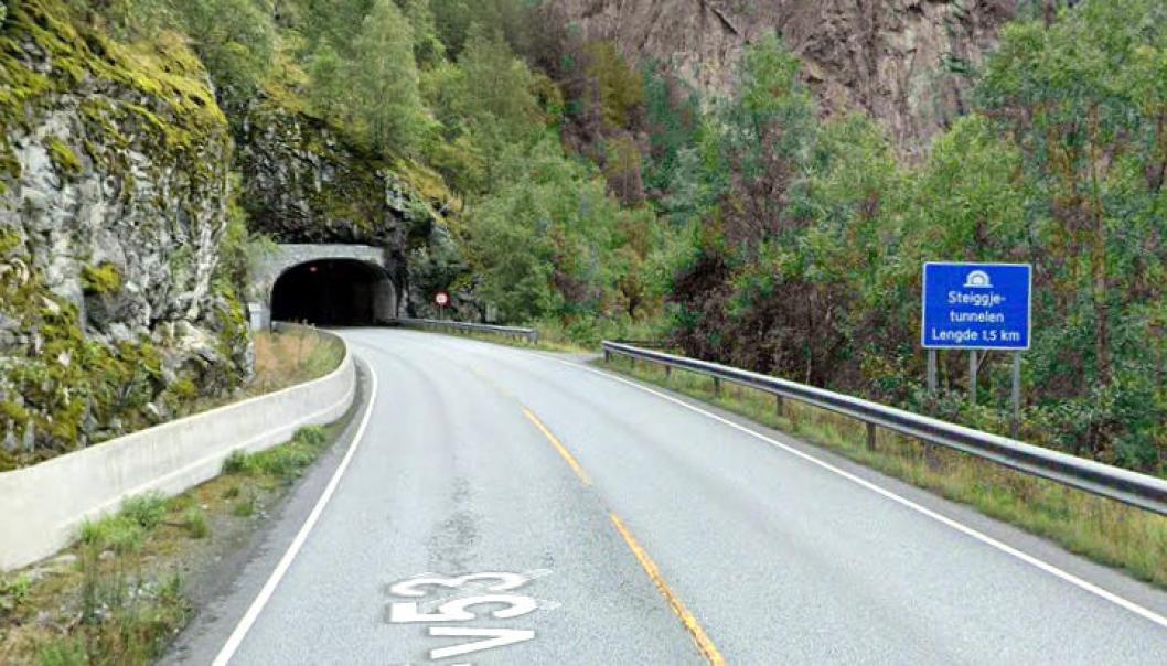 Steiggjetunnelen, er en av de tre tunnelene på fylkesvei 53 i Årdal som skal oppgraderes.