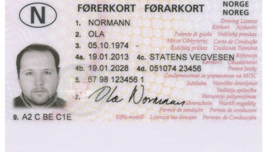 Illustrasjopnsbilde norsk førerkort.