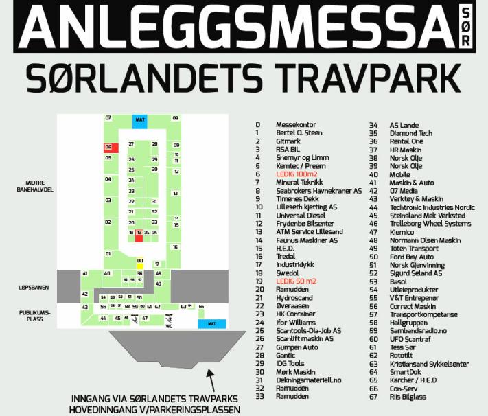 Utstillerkart på Anleggsmessa Sør 2020.
