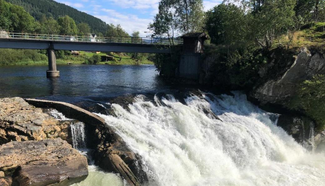 Hovefossen i elva Nausta i Vestland, en ettertraktet elv for sportsfiske etter laks og ørret.