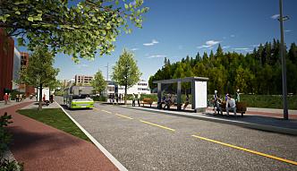 Slik skal den nye sentrumsgaten i Lørenskog bli.