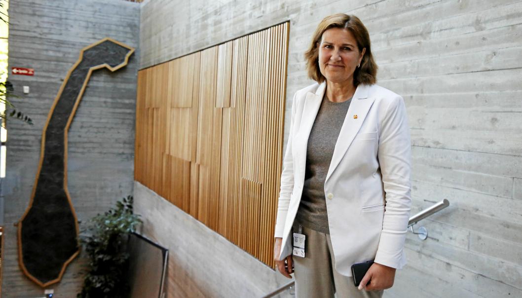 Vegdirektør Ingrid Dahl Hovland noterer en budsjettnedgang, men kan også glede seg over økte bevilgninger til enkeltområder i regjeringens forslag til statsbudsjett for 2021.