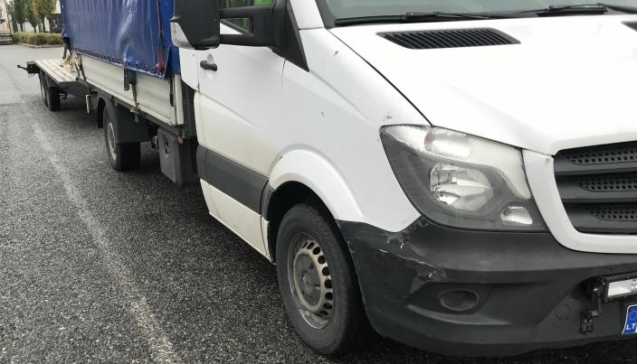 Sjåføren av denne litauiske varebilen fikk mye å forklare da den ble stoppet på E6 ved Jessheim (Viken).