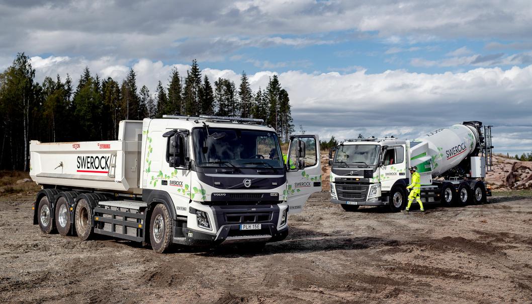 Swerock skal teste en elektrisk krokbil og en elektrisk betongbil for Volvo Trucks.