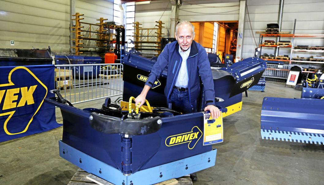 NYHETEN: Denne lille VB1700 vikeplogen var den store nyheten Per-Emil Nilsson i Drivex Norge viste på sitt arrangement ved hovedkontoret i Oslo.
