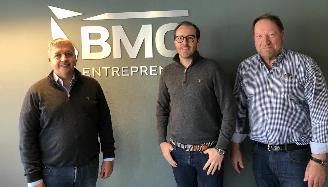 Fra venstre: Øivind Horpestad, styreleder Endúr ASA, Jeppe Raaholt, daglig leder BMO Entreprenør, og Vidar Pettersen, hovedeier og grunnlegger av BMO.