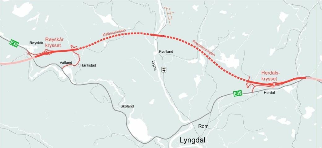 Nye Veier har valgt å invitere fire leverandører til tilbudsfasen for utbygging av ny, trafikksikker firefelts vei på strekningen E39 Lyngdal øst – Lyngdal vest i Agder. Kontrakten har en verdi på 2,75 milliarder kroner.