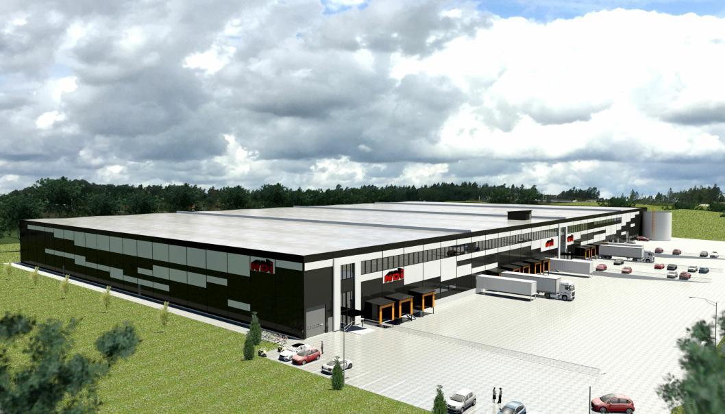 Slik skal NDIs nye logistikkbygg bli når det er bygget i Vestby.