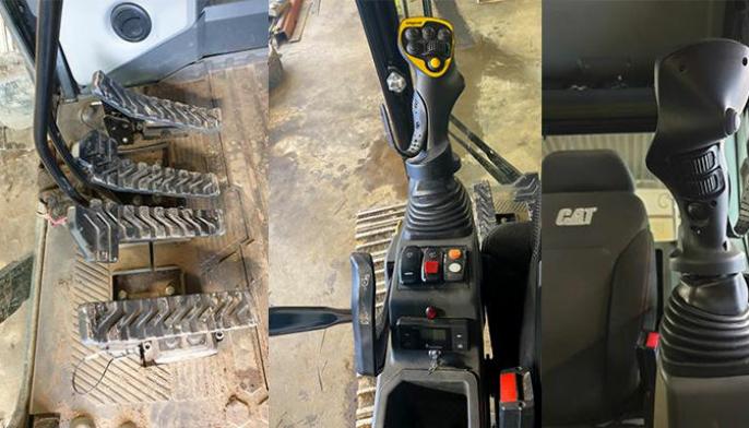 Det er lagt til to ekstra pedaler, en til bom og en til skuffa slik som vist på bildet på Cat 323 gravemaskinen. Når maskinen ikke er i kjøremodus så kan man veksle mellom vanlig og enhåndsbetjening ved å vri om nøkkelen som vist på bildet. Når rød lampe lyser kan man kjøre med enhåndsbetjeningen. Ved å trykke på den gule knappen får man belting ved å bruke rullene på spaken. I enhåndsbetjenings-modus kan man velge om man vil kjøre med beltene via fingerrullene eller bruke fotpedalene for å belte. På undersiden av joysticken, er det satt inn mulighet for å belte, svinge, tilt og rotasjon.
