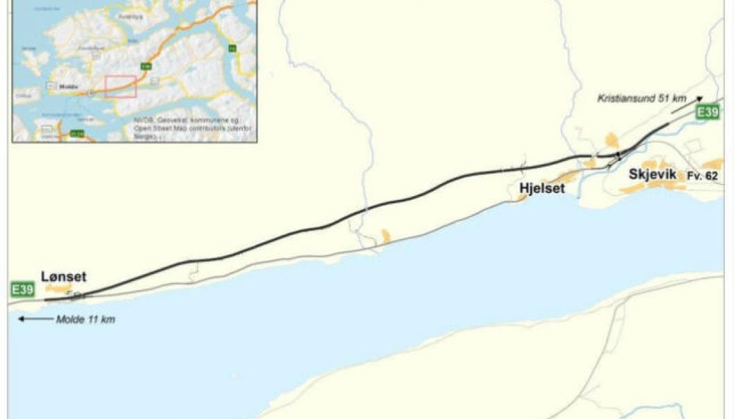 Nye E39 Lønset-Hjelset skal bygges i en ny trasé, nord for dagens E39.