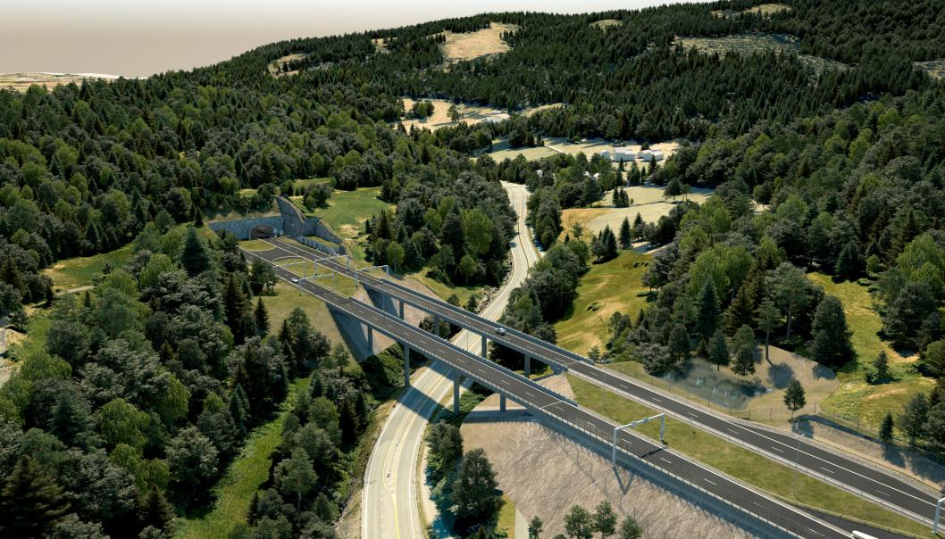 E16 Bjørum-Skaret er et omfattende prosjekt med bruer, tunneler og firefelts vei.
