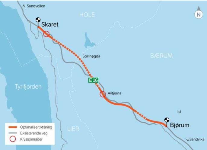 En stor del av strekningen som skal bygges innebærer tunnelbygging, vist med stiplete linje.
