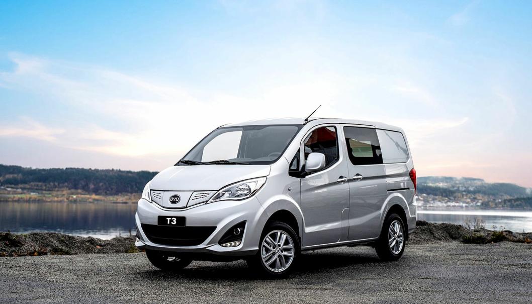 Elektriske BYD T3 varebiler er klare for rask levering i Norge. BYD-bilene produseres i Kina av det kinesiske selskapet BYD Co Ltd. BYD er forkortelse for Build Your Dreams.