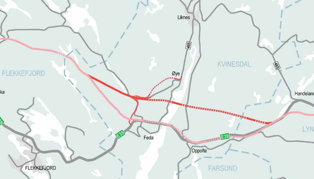 Kartet viser utsnitt av E39 fra Lyngdal vest til Flekkefjord, hvor Nye Veier ønsker å vurdere ny trasé over Fedafjorden i Kvinesdal kommune.