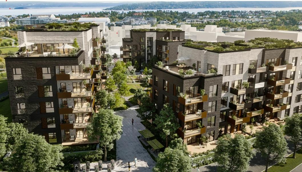 Storøykilen trinn 1 består av 103 leiligheter fordelt på 3 leilighetsbygg med underliggende parkeringskjeller.