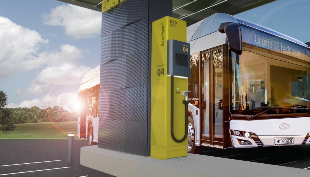 Selskapene skal sammen utvikle hydrogenfyllestasjoner for landeveistransport. Bildet er en illustrasjon fra en fremtidig Everfuel stasjon i Nederland