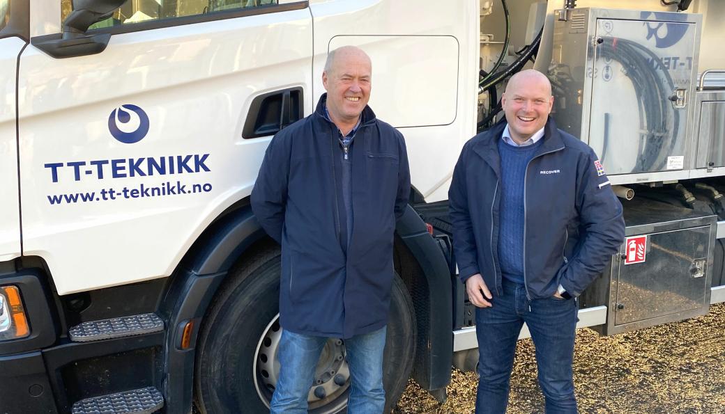 CEO i TT-Teknikk, Stein Schanke, til venstre og CEO i Recover, Vegar Kristoffersen, til høyre.