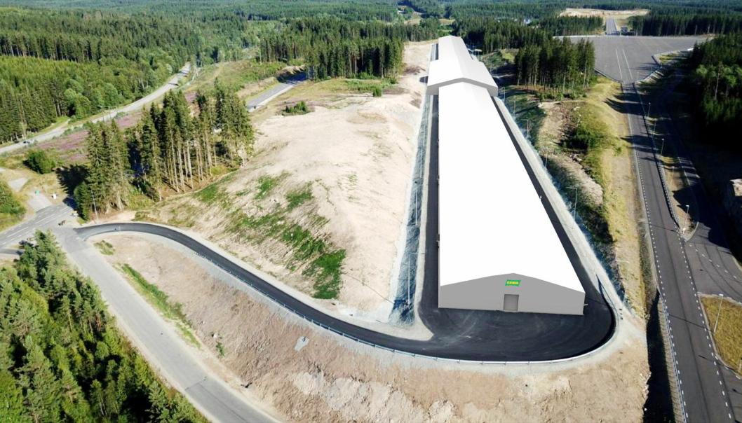 HEMMELIG: Fremtidens teknologi i bilindustrien utvikles på testsenteret i Sverige, og mye vil nok skje bak disse dukene. Illustrasjon: O.B.Wiik