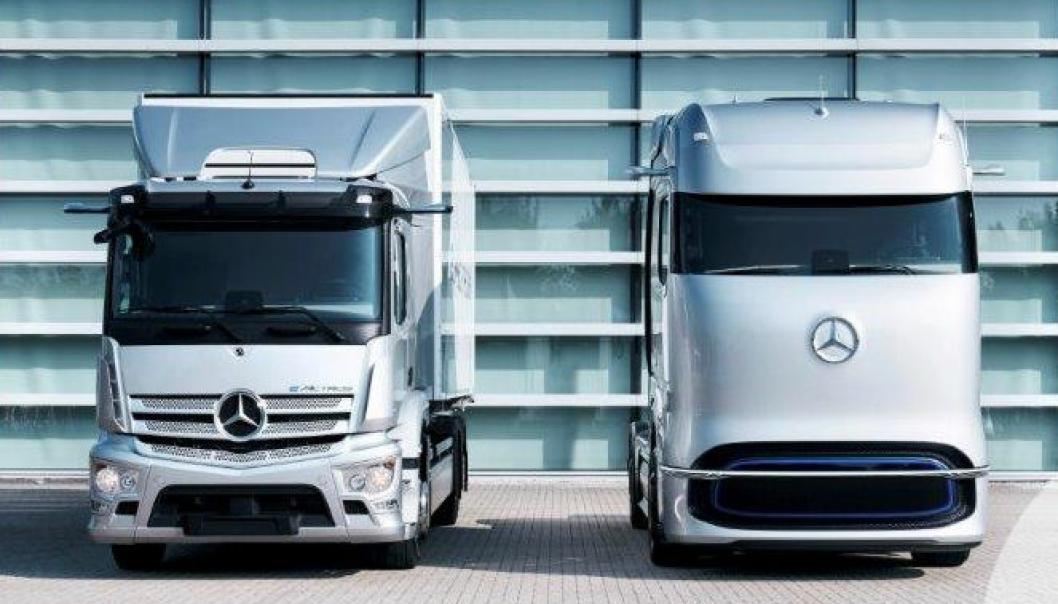 Mercedes-Benz eActros (t.v.) og Mercedes-Benz GenH2.