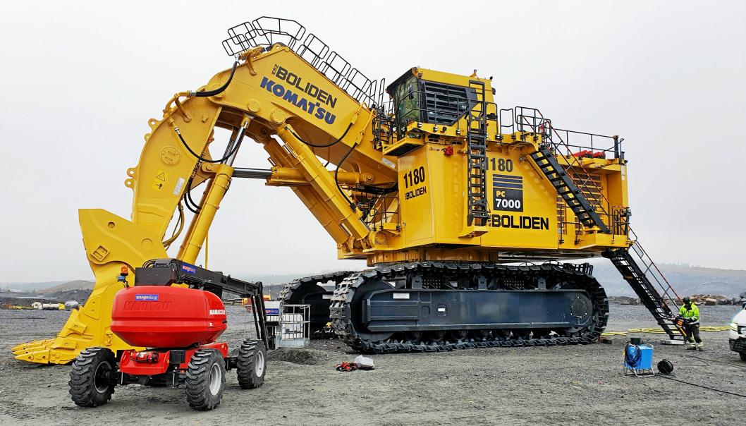 Hesselberg Maskin leverte nylig en 700 tonn Komatsu forgraver til Boliden i Aitik i Nord-Sverige. Maskinen PC7000 er levert av Hesselberg Maskin AB som er et datterselskap av den norske Komatsu-importøren. Bilde fra oktober 2020.