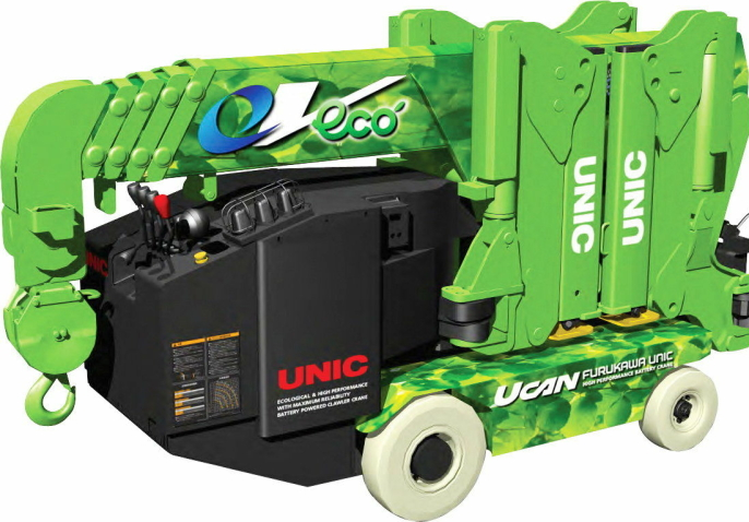 Unic-minikranene kommer med elektrisk drift og med forbrenningsmotor. Med hjuldrift og beltedrift.