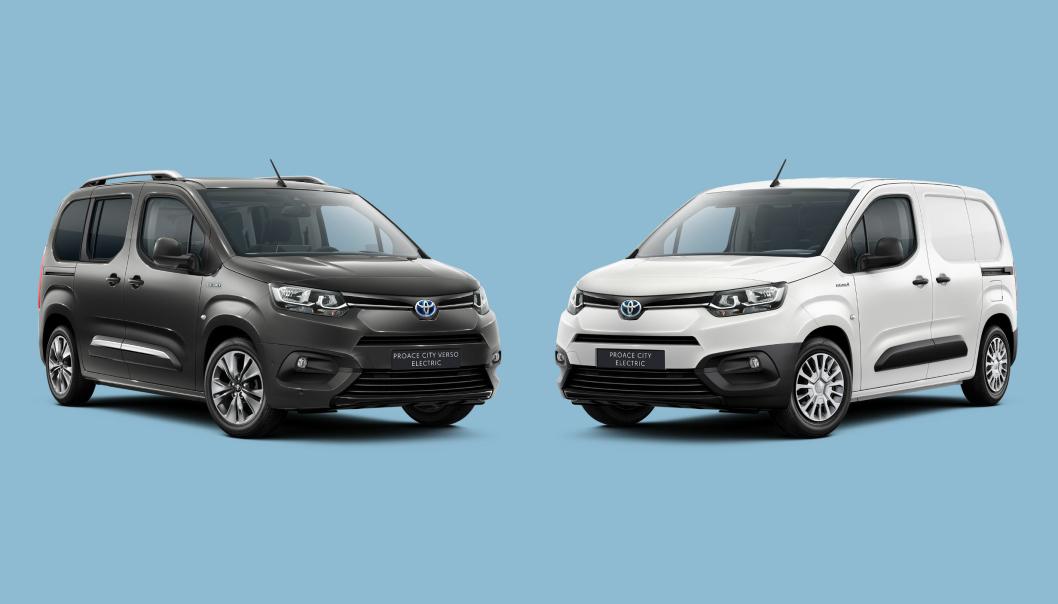 Til høyre står nye Toyota Proace City Electric. Til venstre er personbilvarianten, Toyota Proace City Verso Electric.