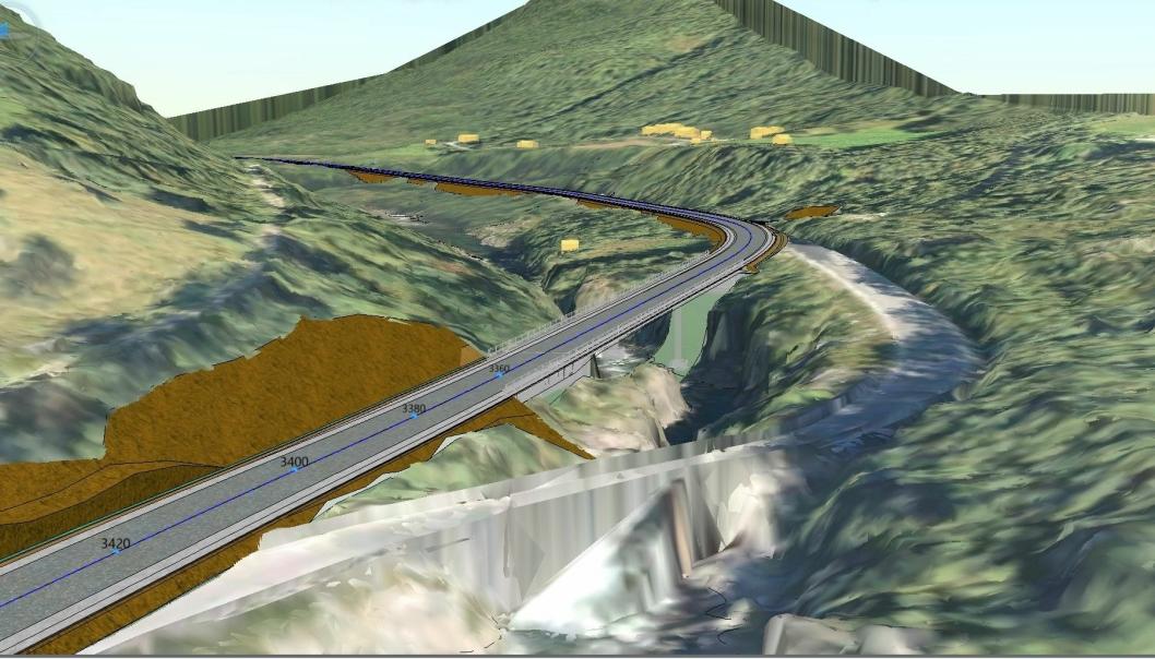 Slik blir den nye brua og veien. Den gamle elvekryssingen skimtes nederst i illustrasjonen.