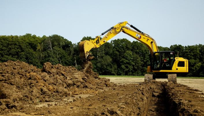 Den største av beltegraverne som lanseres nå, er Cat 317 på ca. 18 tonn.