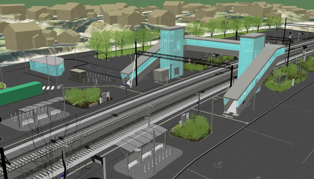 Nittedal stasjon skal oppgraderes og får annet nye plattformer for å ta hensyn til nye togsett, bedre parkeringsmuligheter og tilkomst til stasjonsområdet.   Foto: Rambøll