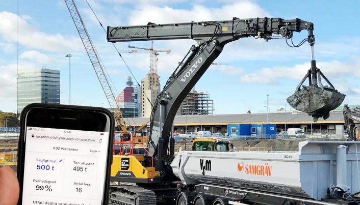 Full oversikt med ny digital tjeneste for NCC i samarbeid med Volvo Trucks og Volvo Construction Equipment. Foto: Volvo