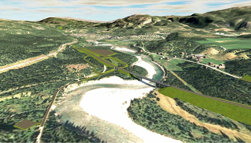 Illustrasjon viser blant annet planlagte nye Svenningelv bru med ny E6 og tunnel inn i Bergåsen. Tettstedet Trofors i bakgrunnen.