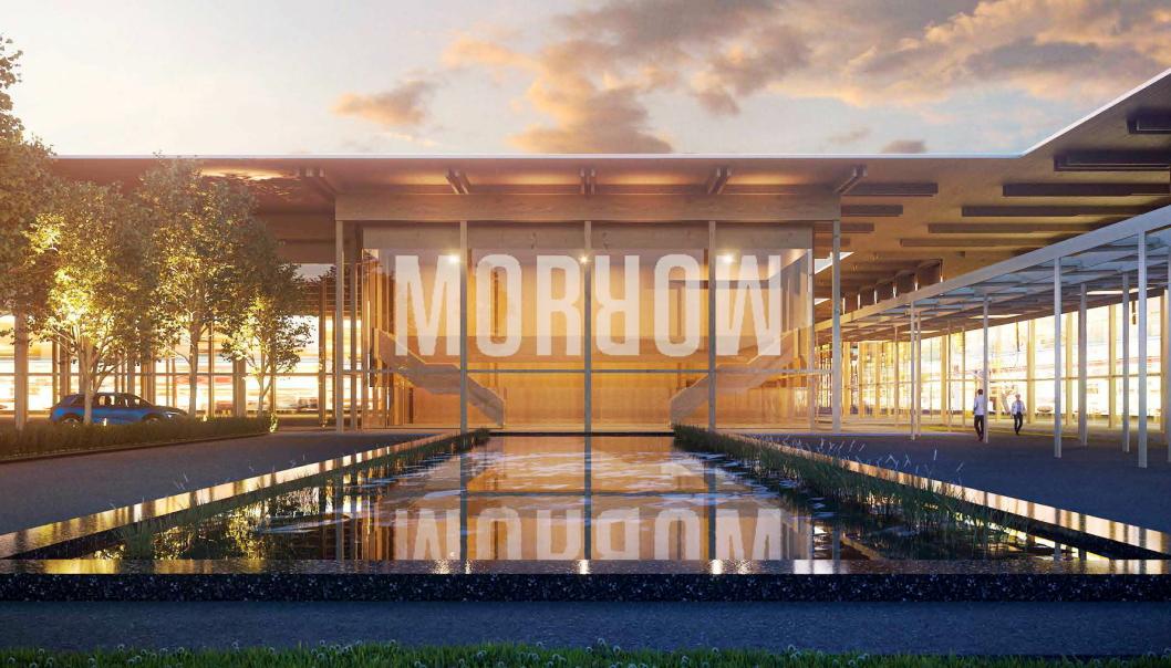 Morrow Batteries velger Arendal for batterifabrikken de skal bygge. Bilde er hentet fra prospektet som ble levert inn for Eyde Energipark. Illustrasjon: RIFT/NSW Arkitektur