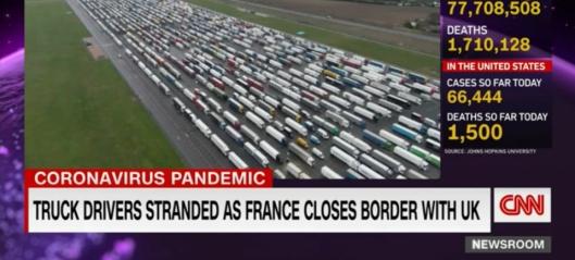 Lastebilkaos på grensen
