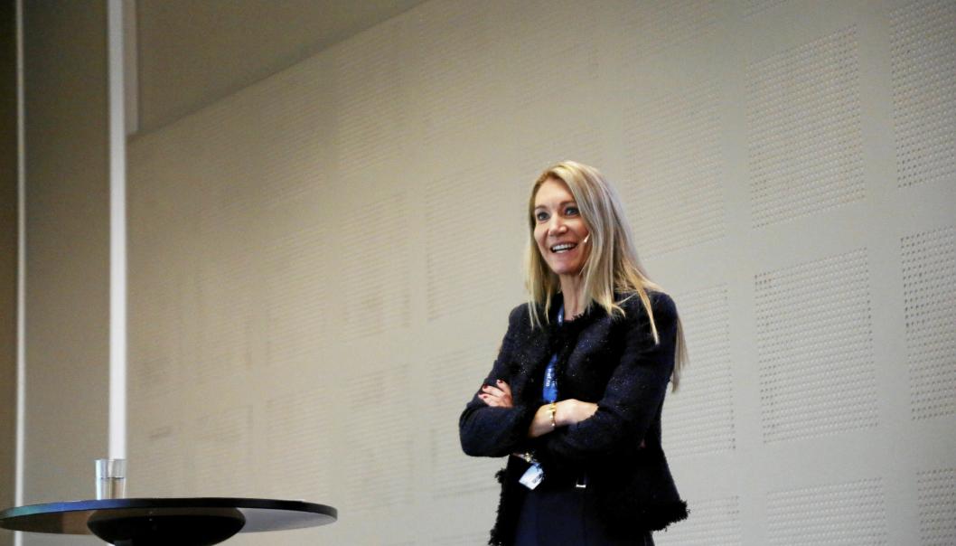 Julie Brodtkorb, adm. direktør i Maskinentreprenørenes Forbund, her fra Arctic Entrepreneur i 2020. 2021-utgaven er avlyst, men 2022 er det igjen planlagt for anleggsfest på Gardermoen i januar. Foto: Klaus Eriksen