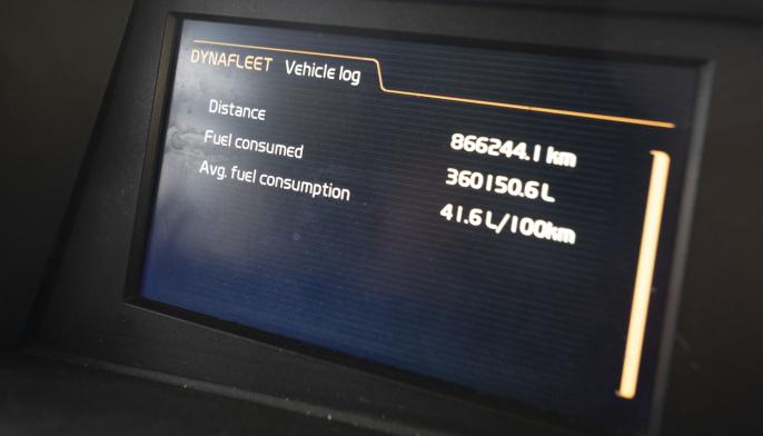 LAVT: På nesten 900.000 kilometer har Pedro kjørt Volvo FH16 750-en på 4,1 l/mil i gjennomsnitts forbruk.