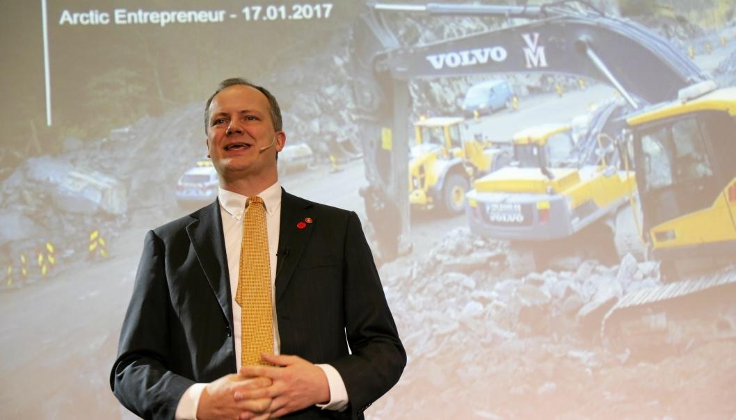 Ketil Solvik-Olsen på Arctic Entrepreneur i 2017 som samferdselsminister. Etter at han gikk av som statsråd, er han involvert i selskaper som jobber direkte mot transport- og anleggsbransjen.