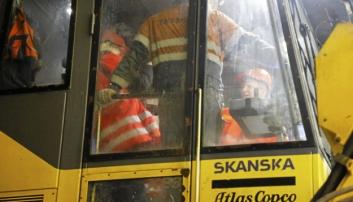 Som minister besøkte Solvik-Olsen mange anleggsprosjekter, her fra Skanskas tunnel på E16 Bagn-Bjørgo i mars 2018. Foto: Klaus Eriksen