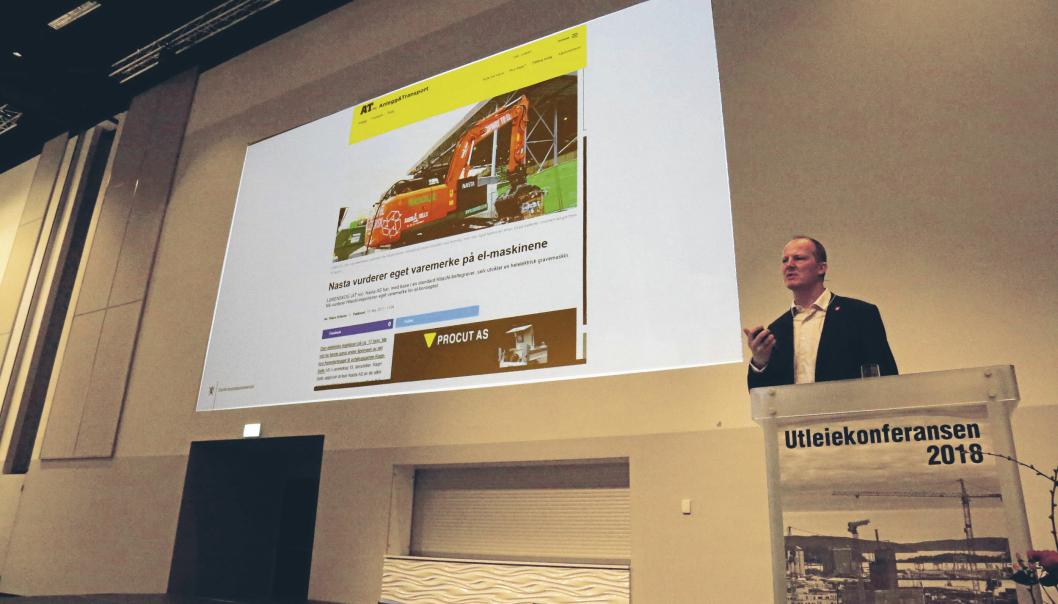 Her fra Utleiekonferansen i 2018, som samferdselsminister. Snakket om elektriske maskiner i bransjen. Foto: Klaus Eriksen