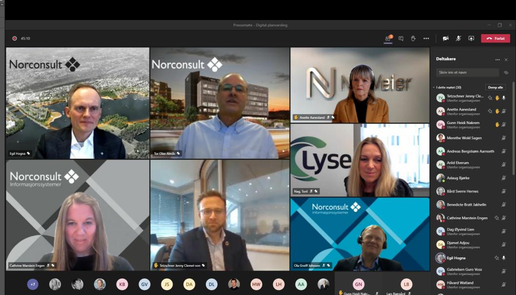 Kommunal- og moderniseringsminister Nikolai Astrup ga i dag klarsignal for å sende ut Norges første digitale planvarsel - i et digitalt møte, så klart.