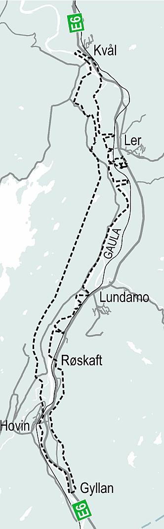 Det planlegges for ca. 17 km firefelts motorvei fra Gyllan til Kvål i Trøndelag. Kartet viser planavgrensningen.