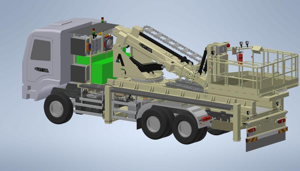 Tegning av den første batteridrevne arbeidsplattformen for tunnel som er utviklet av Agder Gruppen . Foto: Agder Gruppen