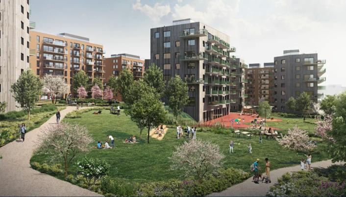 Obos-prosjektet på Løren i Oslo er på totalt 390 boliger. Gårdsrommene mellom boligene skal benyttes til store hager med frukttrær, bærbusker og urter. (Illustrasjon: TAG Arkitekter)