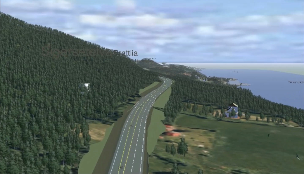 Illustrasjon av ny veitrase, slik veien vil fremstå ved Sigerset.