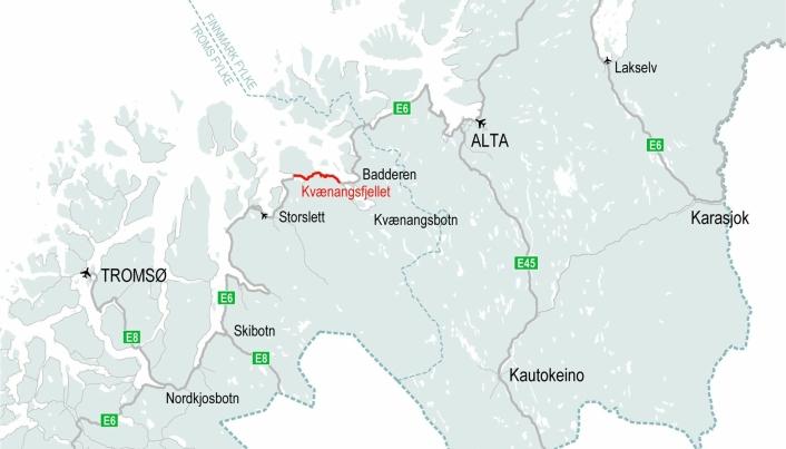 Kartet viser hvor Kvænangsfjellet er lokalisert.