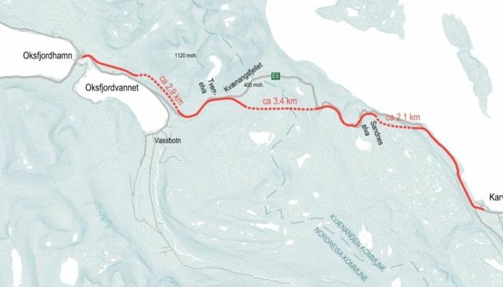Kartet viser planområdet for utbygging av ny E6 Kvænangsfjellet.