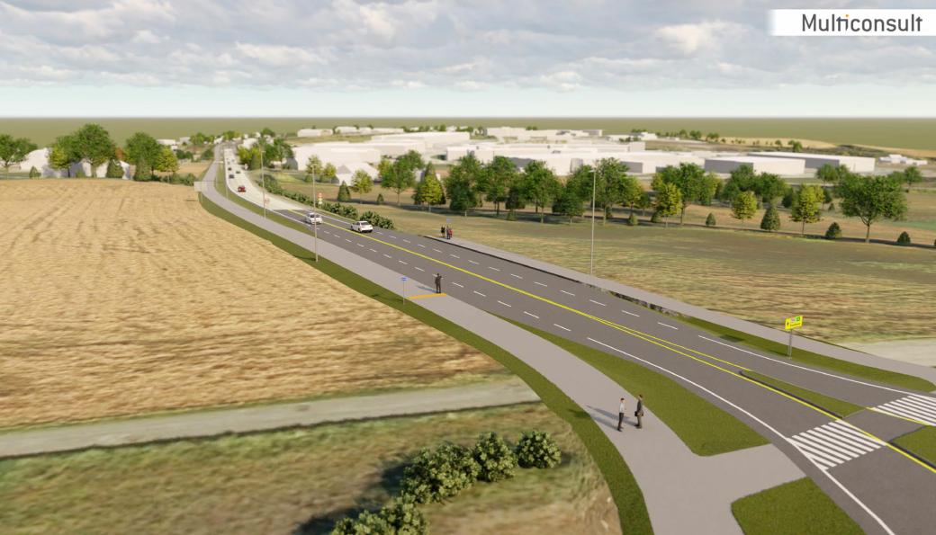 Totalt skal det bygges 1500 meter gang- og sykkelvei langs fylkesvei 704 Sandmoen-Rødde.