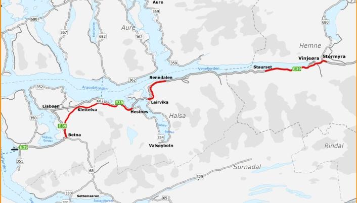 Utbyggingen av E39 Betna-Hestnes, E39 Leirvika-Renndalen (er i gang med bygging) og E39 Staurset-Stormyra, reduserer avstanden på strekningen med 5 kilometer og reisetiden med 7 minutter.