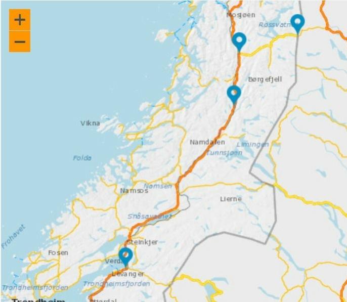 Kart driftskontrakt E6 fra Verdal til Nordlandsporten. Rv. 73 Fra Trofors til svenskegrensen.
