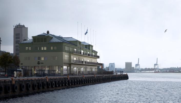 Illustrasjon av Oslo Havns lokaler i Skur 38 slik det vil se ut etter rehabiliteringen som er ferdig i 2022. Eiendommen skal bli et Breeam-Nor Excellent-sertifisert miljøbygg med energiklasse B. Det betyr gode kvaliteter med godt inneklima i kontorlokalene, samt lavt energiforbruk. Bygget er tegnet av arkitekt Bernt Arlet Christian Lange. I 1987 ble bygningen rehabilitert og bygget om til kontorbygg for Oslo Havn. Ombyggingen har mål om å synligjøre byggets historie, med preg av «røft, åpent lagerbygg».