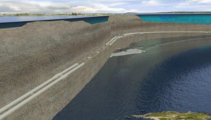 Illustrasjon av tunnelen under Boknafjorden på Rogfast.